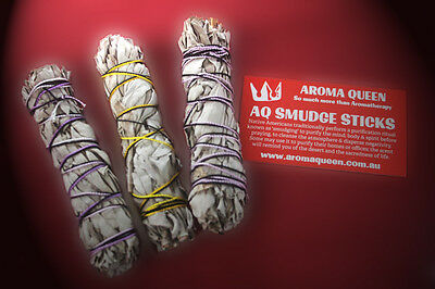 AROMA QUEEN White Sage Smudge Stick PACK of 3. 10-11cm (Long Style) FREE POSTAGE