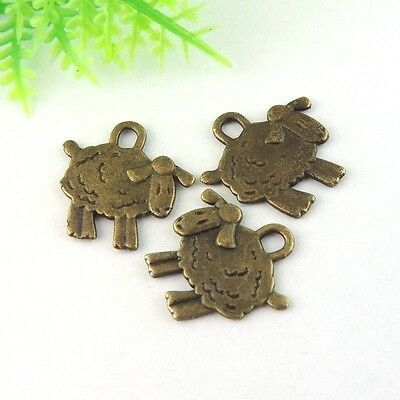 60X Vintage Style Bronze Tone Lovely Sheep Pendant Charms 15*10*1mm