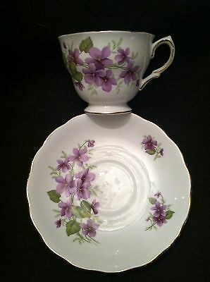 "Royal Vale English Bone China Footed Teacup & Saucer ""Violets"""