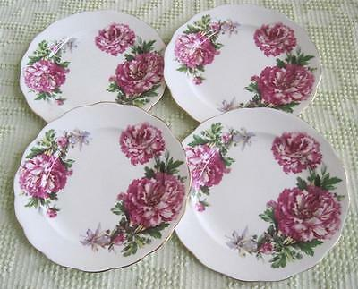 "Four Royal Standard Amethyst Floral 7.75"" Plates Made in England"