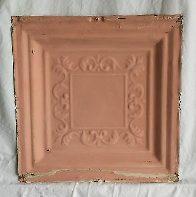 "1890's 12"" x 12"" Antique Tin Ceiling Tile Vintage Pink FM11 Reclaimed Shabby"