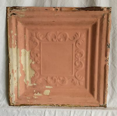 "1890's 12"" x 12"" Antique Tin Ceiling Tile  Vintage Pink FM3 Anniversary Metal"
