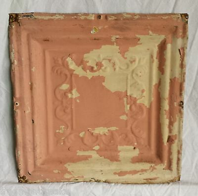 "1890's 12"" x 12"" Antique Tin Ceiling Tile Vintage Pink HF5 Reclaimed Metal"