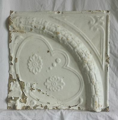 "12"" x 12"" Antique Tin Ceiling Tile *SEE OUR SALVAGE VIDEOS* Vintage Ivory Ax20"