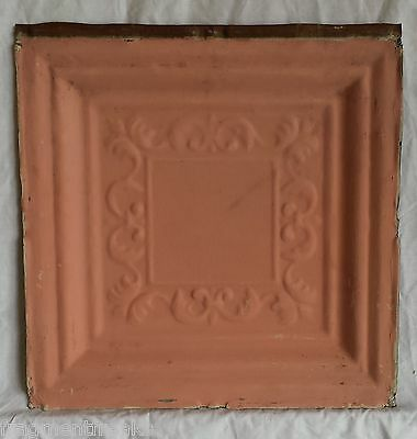 "12"" x 12"" Antique Tin Ceiling Tile *SEE OUR SALVAGE VIDEOS* Vintage Pink Ak3"
