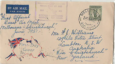 Stamp Australia 1/- Lyrebird Hunter Stamp Co flight cover to New Zealand