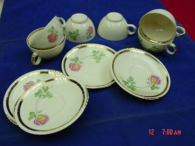 Vintage China Paden City Pottery 6 Coffee Cup 4 Saucer  American Beauty Pattern