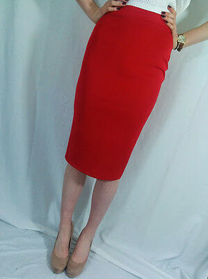 ♥New RIVER ISLAND Red Stretch Bodycon Pencil Skirt Size 8 10 12 14 16 18 RRP£32♥