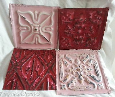 "4 6"" x 6""  Antique Tin Ceiling Tiles *SEE OUR SALVAGE VIDEOS* NN18 Pink Red"