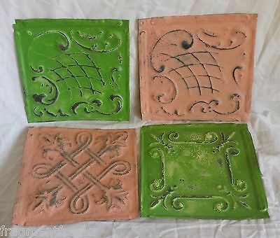 "4 6"" x 6""  Antique Tin Ceiling Tiles *SEE OUR SALVAGE VIDEOS*By20 Pink & Green"