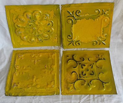 "4 6"" x 6""  Antique Tin Ceiling Tiles *SEE OUR SALVAGE VIDEOS*By2 Tropical Yellow"