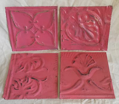 "4 6"" x 6""  Antique Tin Ceiling Tiles *SEE OUR SALVAGE VIDEOS*By16 Tropical Pink"