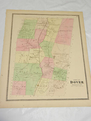 1867 Antique COLOR Map///TOWN OF DOVER, DUTCHESS COUNTY, NEW YORK