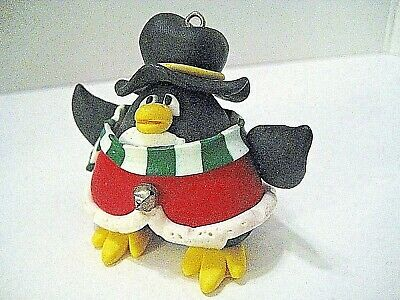 Polymer Clay Penguin Christmas Ornament Colorful With Small Bell