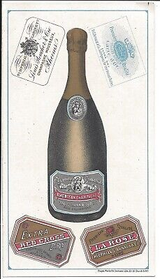 Beaut Illust Td Card., Wine Labels, Champagne, Arnold & Co Brandies, Wines c1880