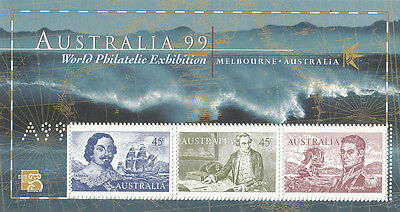 Stamps Australia Navigator mini sheets perforated A99 error misperforated, MUH