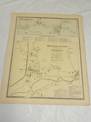 1867 Antique COLOR Map///BREWSTERS STATION & PATTERSON, PUTNAM COUNTY, NEW YORK