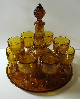 Vintage Tiara Exclusives Amber Sandwich Glass Wine Decanter 8 Glasses & Tray