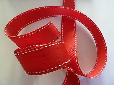 Red Grosgrain Ribbon with White Stitch 25mm wide x 50 metres roll  - Christmas