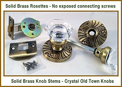 24% Lead Crystal OLD TOWN & ANTIQUE BRASS DoorKnob Set QUALITY + Factory Pricing
