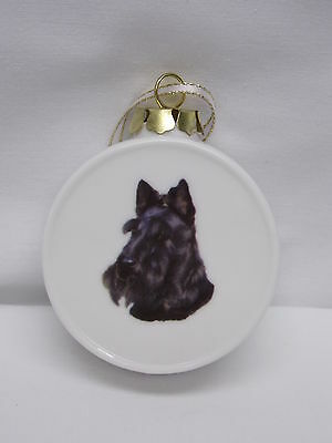 Scottish Terrier Dog Porcelain Drum & Ball Christmas Tree Ornament Fired Decal