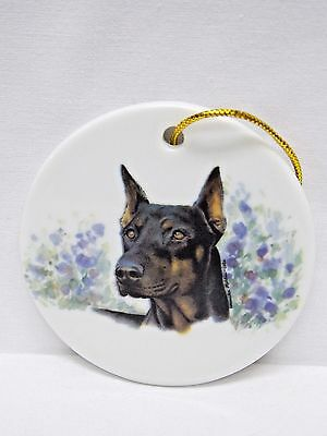 Doberman Pinscher Dog Cropped 3 In Round Christmas Tree Ornament Fired Decal-L
