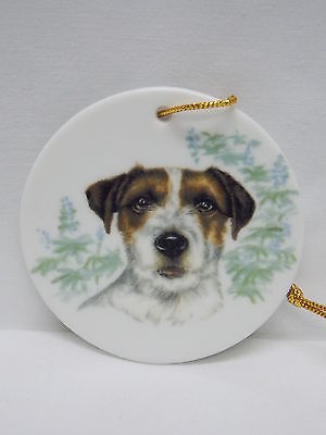 Jack Russell Dog 3 In Round Porcelain Christmas Tree Ornament Fired Head Decal-L