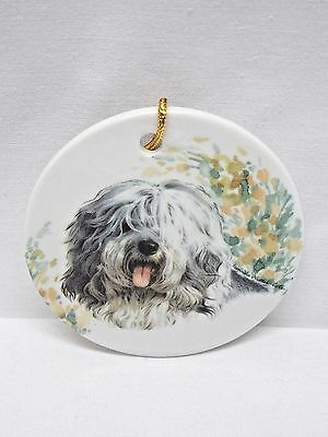 Old English Sheepdog Porcelain 3 In Round Christmas Tree Ornament Fired Decal-L
