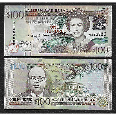 East Caribbean  States P-NEW  100 Dollars,w/bars for blind-Crisp Uncirculated
