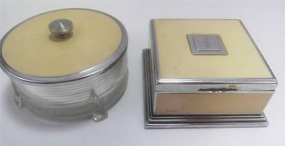 French Ivory 1940's Deco Celluloid Dresser Set Ivorine 2pc  Powder,Cigarette Box