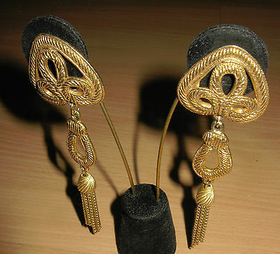 Vintage Large Dauplaise Antique Gold Tone Tassel Tassels Dangle Cable Earrings
