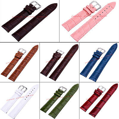 Genuine Leather Wrist Watch Band Strap White/Black/Brown Women Men Steel Buckle