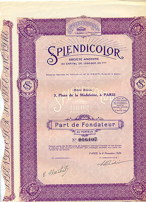 Frankreich France Splendicolor Part de Fondateur 1926 Gründeranteil Film RAR