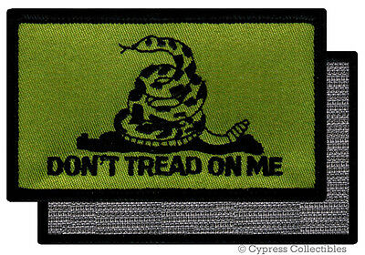 DONT TREAD ON ME GADSDEN FLAG PATCH AMERICAN GREEN w/ VELCRO® Brand Fastener