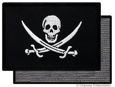 PIRATE FLAG PATCH JOLLY ROGER Skull Swords Calico Jack w/ VELCRO® Brand Fastener
