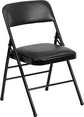 Lot Of 40 Triple Braced Black Vinyl Upholstered Metal Folding Chair
