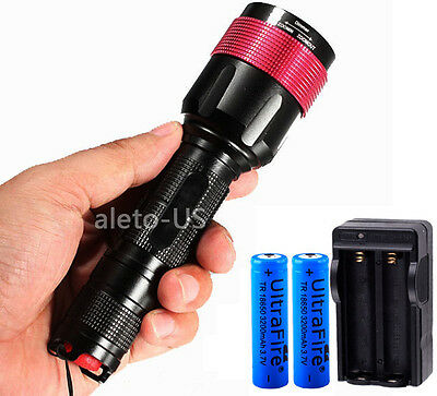 US STOCK CREE XM-L T6 LED 2200 Lm Zoomable Flashlight Torch lamp 2X18650+Charger