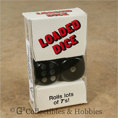 NEW Loaded Pair D6 Black w/ Silver Pips Six Sided Weighted Trick Dice Set