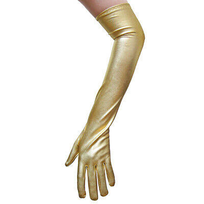 Shiny Long Elbow Length Gold Metallic Gloves ~ PROM DANCE WEDDING COSTUME PARTY