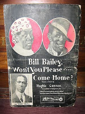 "1902 BLACK ENTERTAINER HARRY BROWN PHOTO SHEET MUSIC ""BILL BAILEY WON'T YOU....."