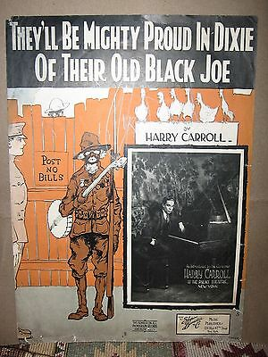 "1918 BLACK CARICATURE WWI SHEET MUSIC ""THEY''LL BE MIGHTY PROUD IN DIXIE....."