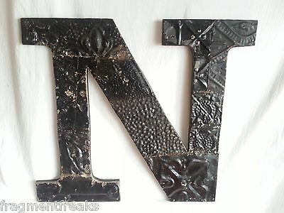 "Large Antique Tin Ceiling Wrapped 16"" Letter 'N' Patchwork Metal Mosaic Black"