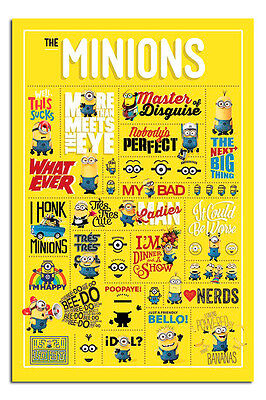 Despicable Me Minions Infographic Large Poster New - Maxi Size 36 x 24 Inch