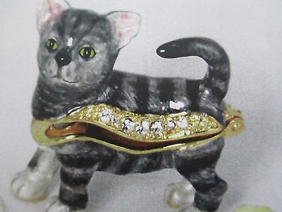 Sam ~American Shorthair ~Jeweled & Enamel Trinket Box ~ Boutique Miniature 61141