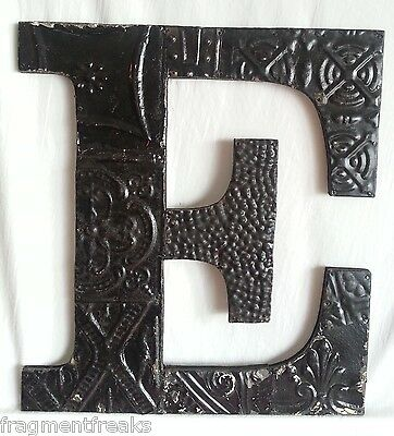 "Large Antique Tin Ceiling Wrapped 16"" Letter 'E' Patchwork Metal Mosaic Black"