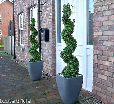 2 Best Artificial 4ft 120cm Topiary Spiral Boxwood Trees & Battery LED Lights