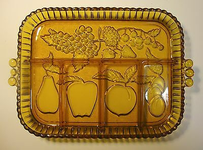 Vintage amber glass serving platter fruit motif