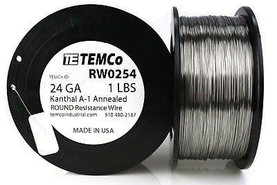 TEMCo Kanthal A1 wire 24 Gauge 1 lb (1018 ft) Resistance AWG A-1 ga
