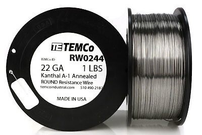 TEMCo Kanthal A1 wire 22 Gauge 1 lb (641 ft) Resistance AWG A-1 ga