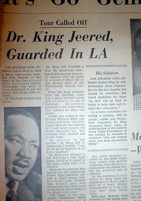 1967 newspaper Negroes heckle Martin Luther King JR  WATTS RIOTS Los Angeles CA